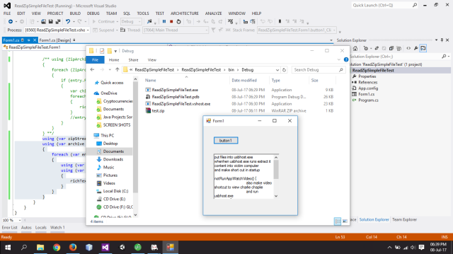 READ THE CONTENT OF A FILE IN A ZIP FILE WITHOUT EXTRACTING